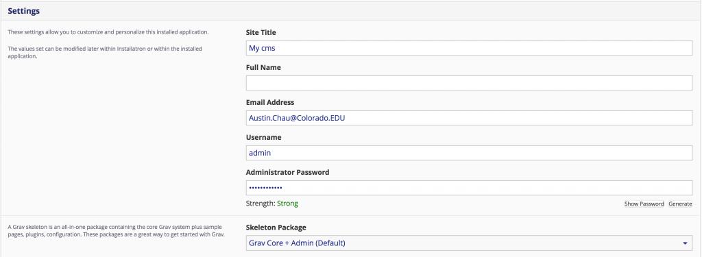 Grav install username information