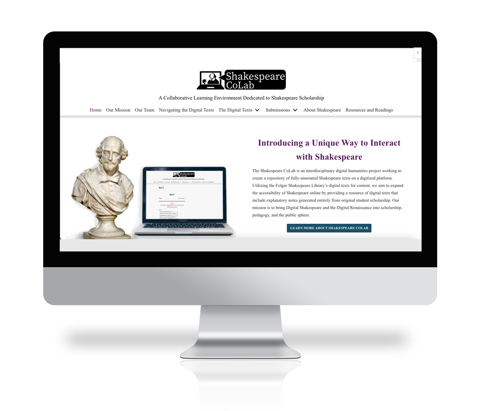Picture of Shakespeare CoLab website